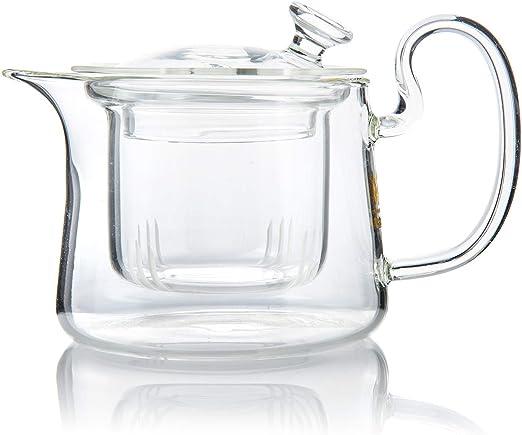 Ballylelly Tetera de vidrio de borosilicato transparente transparente no t/óxica Elegante tetera de vidrio de t/é con colador de infusor de acero inoxidable