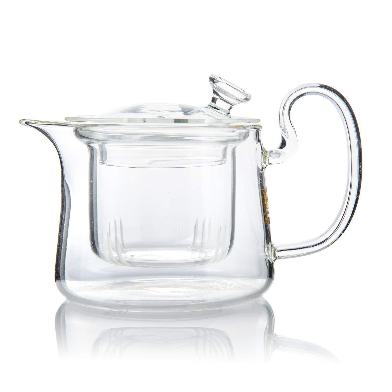 Modern Stylish Ultra Clear Heat Resistant Borosilicate Glass Teapot With Removable Glass Infuser - 300 ml / 10.1 oz