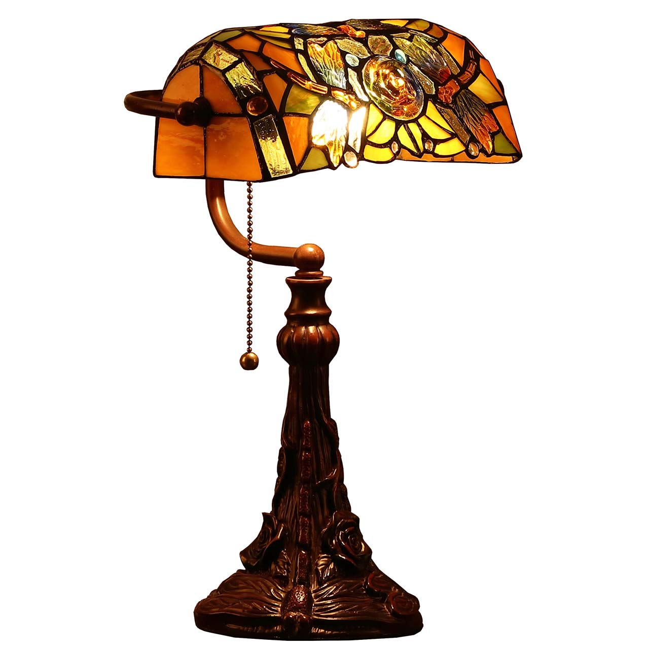 Bieye L10308 Dragonfly Tiffany Style Stained Glass Banker Desk Lamp, Table Lamp with 10-inches Wide Lampshade for Reading Working, 16 inches Tall Brown