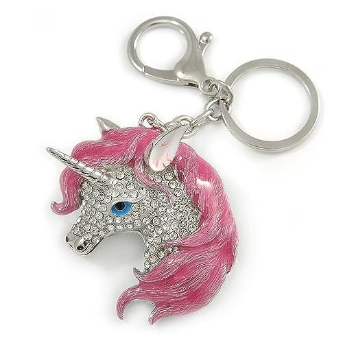 Avalaya - Llavero con Diseño de Unicornio de Esmalte Rosa ...