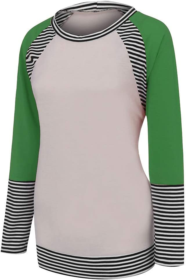 Lataw Women Tops and Blouses Fashion Casual Leisure Loose Long Sleeve Stripe Print Splice Patchwork O-Neck Comfort Sweatshirt Clothes