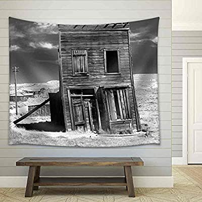 Dazzling Composition, Old Building Propped Up by a Wooden Post in an Old West Ghost Town Fabric Wall, Original Creation