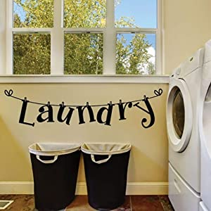 Potelin Fashion Laundry Letters Room Wall Sticker Home Bedroom Decor Removable Decal Durable and Useful