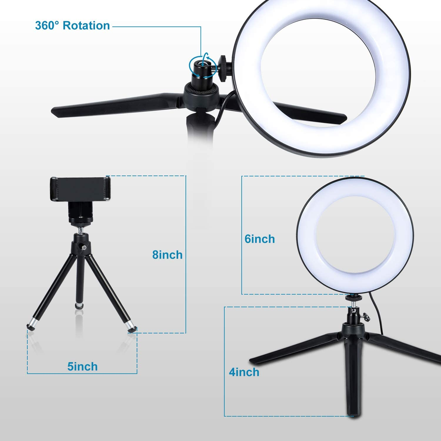 """LED Ring Light 6"""" with Tripod Stand for YouTube Video and Makeup, Mini LED Camera Light with Cell Phone Holder Desktop LED Lamp with 3 Light Modes & 11 Brightness Level (6"""") : Camera & Photo"""