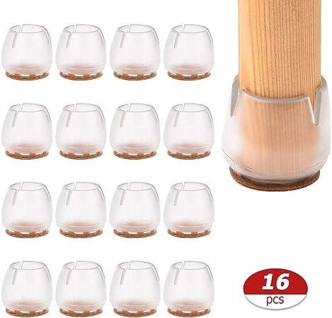 16PCS Chaise Casquettes Pieds Mobilier Table Protection de Plancher 22-25mm Couvercle Silicone Prot/ège-Jambe Transparent