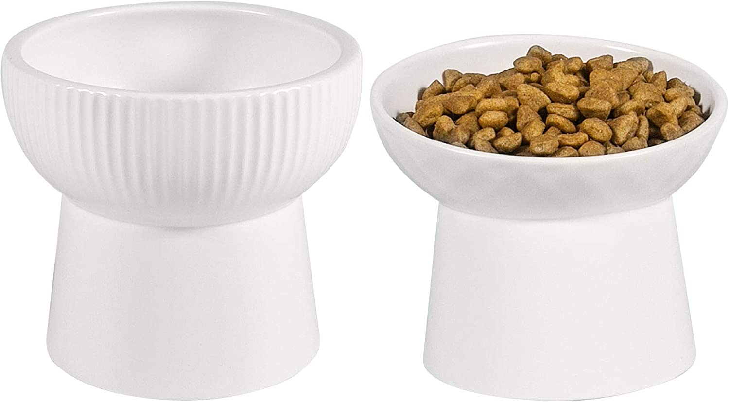 Qucey Raised Cat Food and Water Bowl Set, Elevated Ceramic Cat Feeder Bowls Pet Dish with Stand, Dishwasher and Microwave Safe