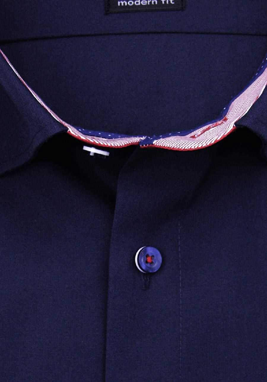OLYMP Luxor modern fit Hemd Halbarm Popeline Nachtblau
