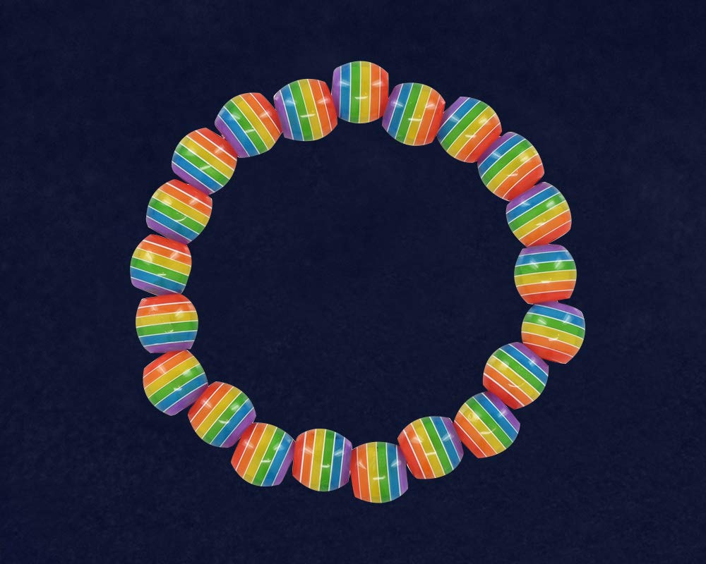 Gay Pride Rainbow Striped Beaded Bracelets (25 Bracelets - Individually Bagged) by Fundraising For A Cause (Image #2)