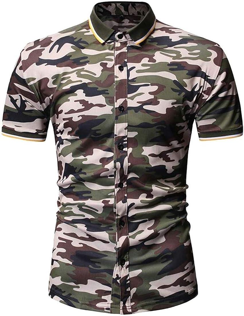 HTOOHTOOH Men Short Sleeve Camo Slim Turn Down Collar Button Down Dress Work Shirt