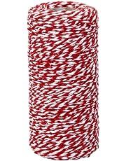 Tinksky Spago Filo di Cotone Decorazione per Regalo Spago da Cucina (Rosso Bianco)