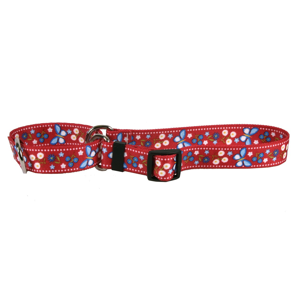 Large 26\ Yellow Dog Design Festive Butterfly Red Martingale Dog Collar 1  Wide and Fits Neck 18 to 26 , Large
