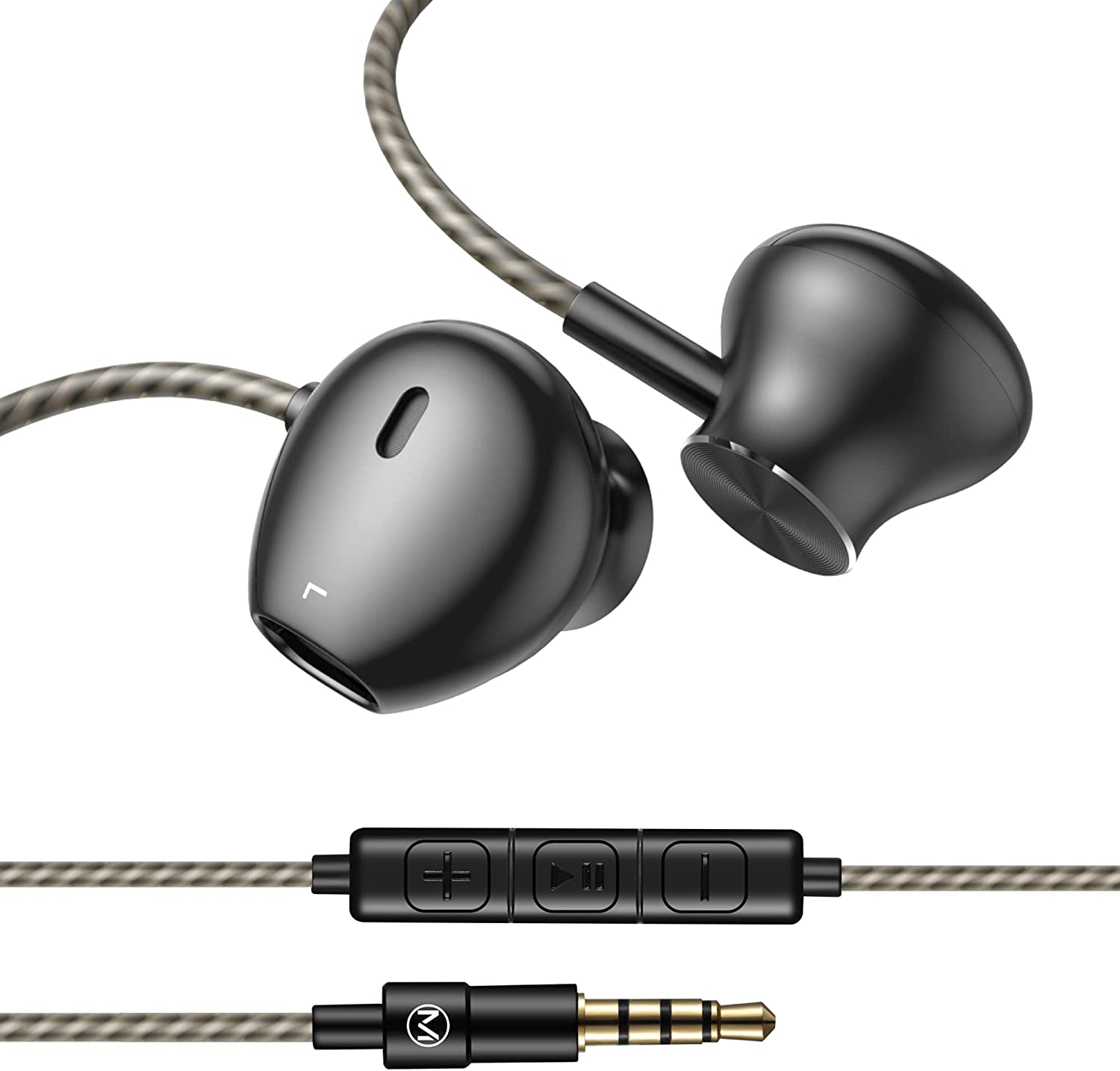 Wired Earbuds with Mic Tangle Free Cord 3.5mm Jack Metal Headphones with Volume Control Extra Bass Noise Cancelling Earphones for Gaming Music Video Apple iPhone iPad Laptop Computer PC Black