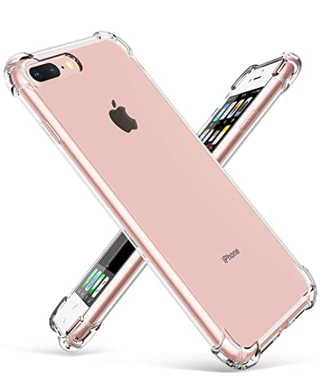 the latest cfa0c bc3cb GVIEWIN Crystal Clear Case for iPhone 7 Plus/iPhone 8 Plus, Shock  Absorption 4 Corners Bumper Ultra-Thin Flexible Transparent TPU Cover,  Phone Skin ...