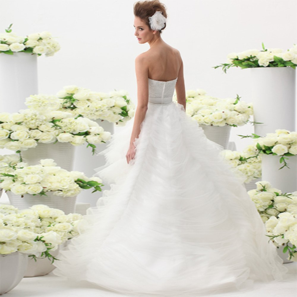 UnionFashionLi Knee Length White Cocktail Lace Wedding Dress with Removable Tail by UnionFashionLi (Image #3)