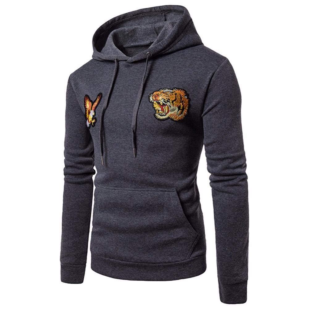 YOcheerful Men's Long Sleeve Hoody Hoodie Hooded Sweatshirt Pullover Fall Winter (Deep Gray,S)