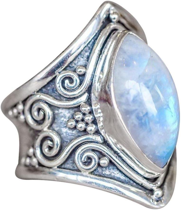 Toamen 1 PC Boho Jewelry Anillo Personalizado Silverstone Piedra Preciosa Marquise Moonstone (Tamaño:10, A)