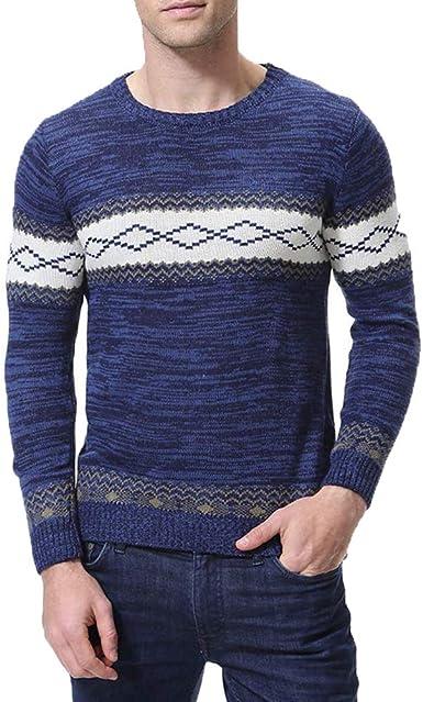 Zicac Mens Spring Winter Knitwear Argyle Design Knitted