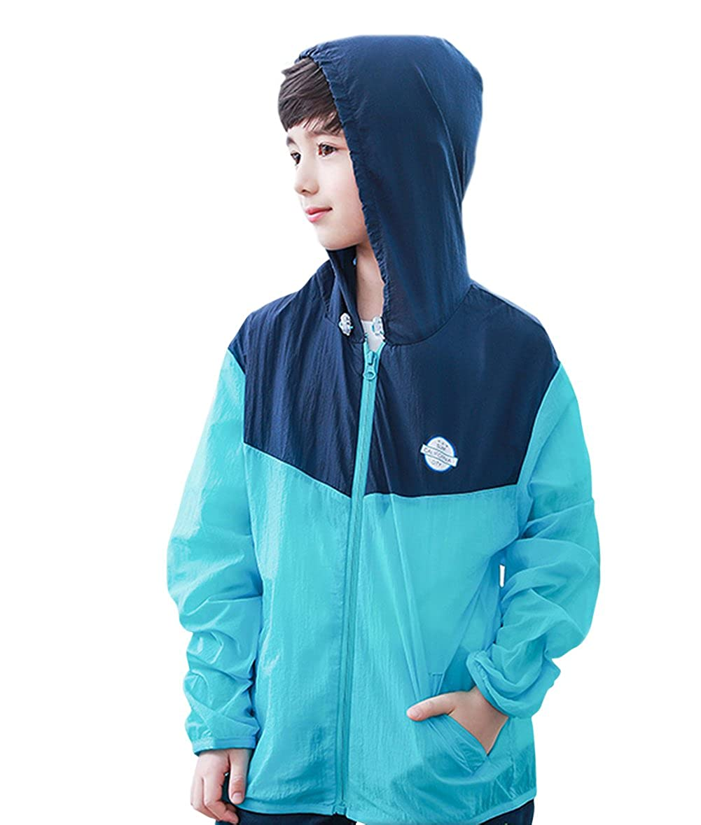 Tortor 1Bacha Kid Boys Color Block Hooded Windbreaker UV Sun Protection Jacket