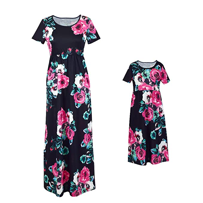 02a698323205 Amazon.com  MLDYGYC Mommy and Daughter Maxi Dresses Boho Floral ...
