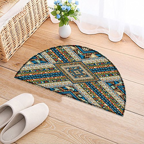 NALAHOMEQQ Non Slip Backing Door Mat Original drawing tribal doddle rhombus. Seamless pattern with geometric elements Floor Bathroom Bedding Rug(35.4x23.6 INCH)