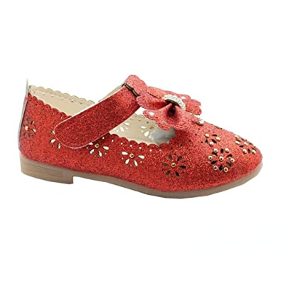 4cdbed941c9 Amazon.com | Little Girls Red Glitter Floral Cut-Outs Scallop Bow ...