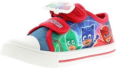 PJ Masks Personaje Niños Zapatos De Lona, con Toque Cierre Correas con Caracteres Gekko, Owlette y Catboy A el Lateral Pared Of The Zapato bumpe