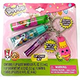 Shopkins On the Go Trio Lip Keychain Set: Swirl Lip Gloss, Lip Gloss Wand, Lippy Lips Charm (Strawberry Flavored Lip Balm)
