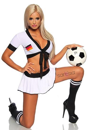 Sexy Damen Fussball Trikot Set Aus Top Und Minirock Im Nationaltrikot Look Von Deutschland S M