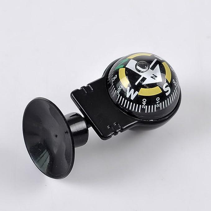 Hoomall Mini Boussole Auto Voiture Bateau avec Base Ventouse 5.5cmx3cm Noir