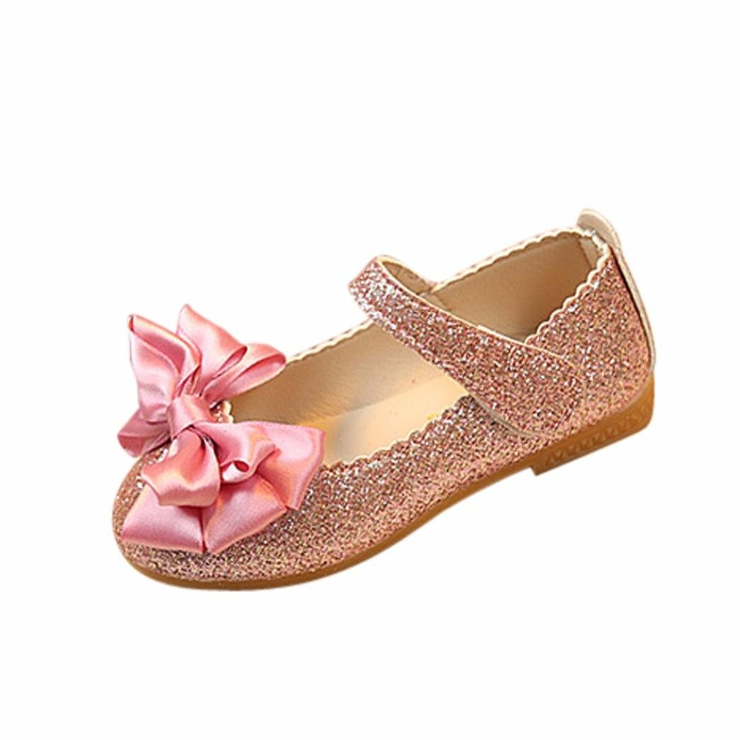 Axinke Toddler Girls Fashion PU Leather Mary Jane Shining Princess Shoes Sandals with Bowknot (Pink, 4.5 M US Toddler)