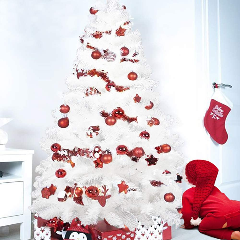 120CM, Agujas de Pino Blanco Material PVC Arcoiris /Árbol de Navidad Artificial Acebo Soporte deMetal, Natural Verde