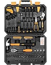 DEKOPRO 128 Pieces Tool Set--General Household Hand Tool Kit, Auto Repair Tool Set, with Plastic Toolbox Storage Case (128PCS)