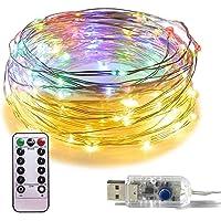 Luces Led Decorativas Guirnaldas Decorativas - RFAIKA Luces de Navidad Control Remoto de Carga USB 8 Modos 10 Metros 100…