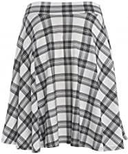 c4a790b5a61 Womens Plus Size New Tartan Check Block Stretch Band Flared Skater Skirts 14 -28
