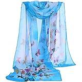 Webla Fashion Women Butterfly Printing Soft Wrap Scarf Ladies Chiffon Long Shawl Scarves
