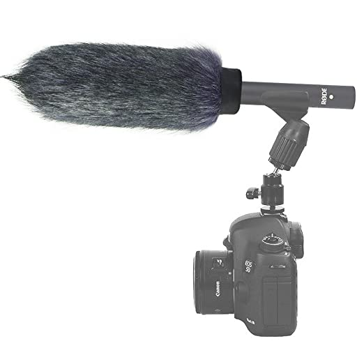 First2savvv Outdoor Portable Digital Recorders Furry Microphone Mic Windscreen Wind Muff for Rode NTG4 Audio Technica AT879 Microphone Cleaning cloth TM-NTG4+-11G11