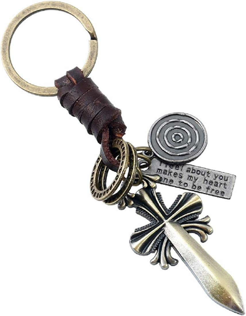 ACVIP Vintage Cross Keychain Keyfob Pendant for Purse Bag