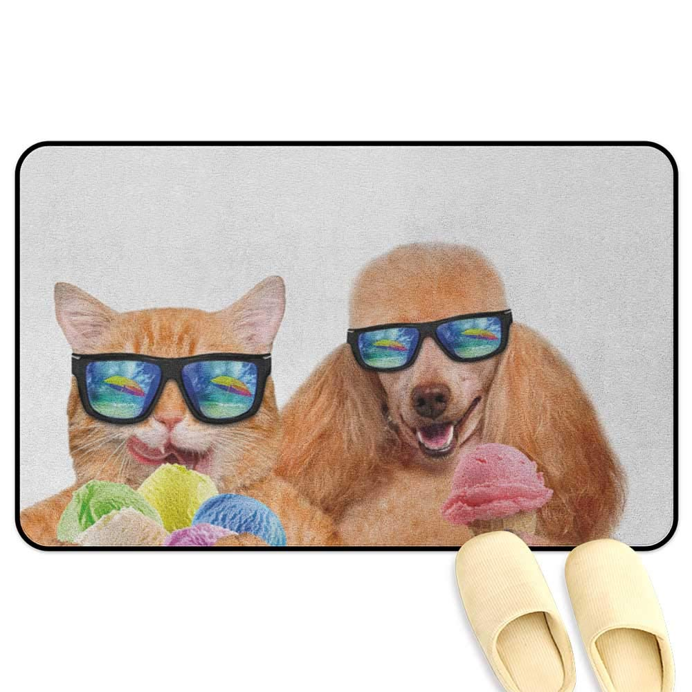 Animal Microfiber Absorbent Bath Mat Cat Dog Pet with Sunglasses Eating Ice Cream Retro Cool Vintage Pop Artwork Image Multicolor Hard Floor Protection W47 x L59 INCH