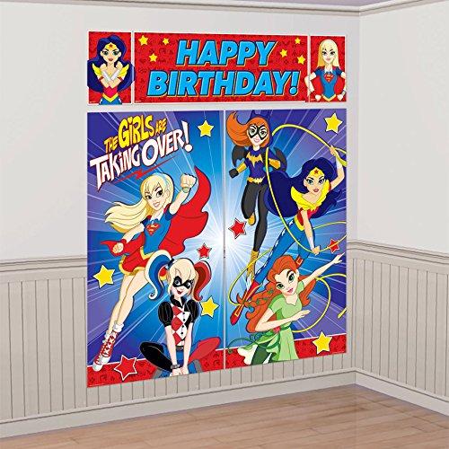 Amscan Dc Super Hero Girls Wonder Woman Supergirl Batgirl Party Scene Setter Decoration -