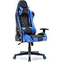 Gaming Chair Racing Office Chair High Back Computer Desk Chair PU Leather Chair Executive and Ergonomic Swivel Chair with Headrest and Lumbar Support (Blue)