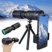 4K 10-300X40mm Super Telephoto Zoom Monocular Telescope High Power Dual Focus Optics Monoculars with Clip and Tripod for…