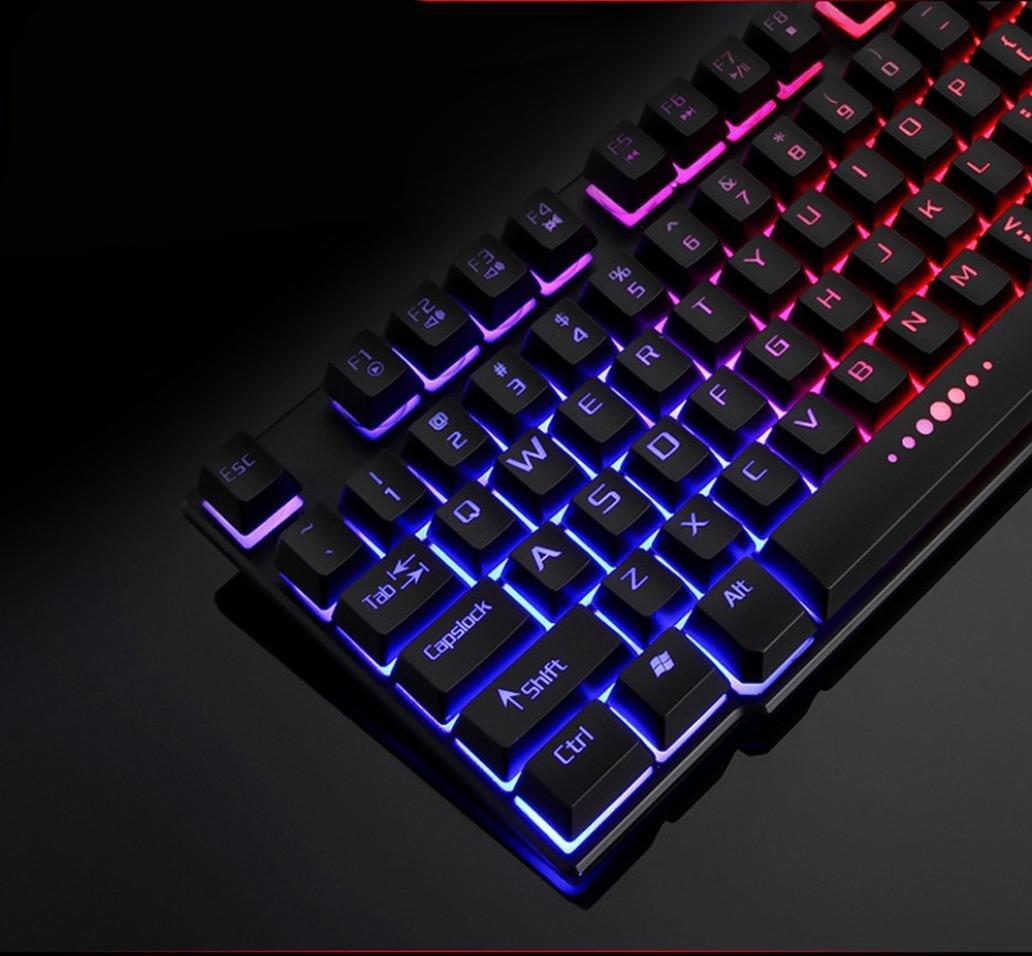 Teclado Colorido Grieta, LED Iluminado Con Cable Usb Retroiluminado PC Keyboard de Juego Rainbow (Negro): Amazon.es: Iluminación