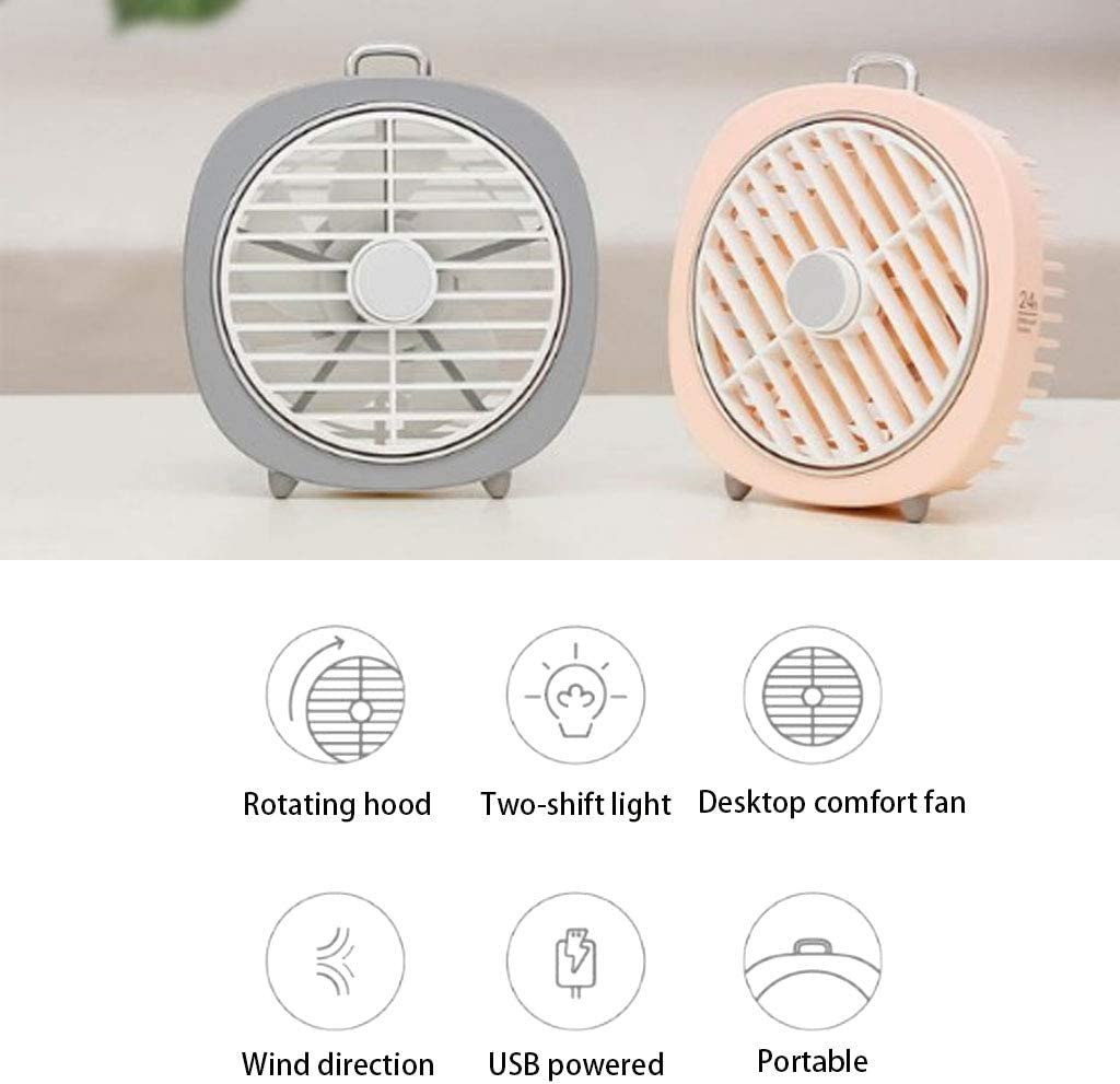 QUANOVO Electric Fan Small USB Fan Table Desk Fan Rotating Hood Night Light USB Powered Silent Fan Blade USB Port Phone Adapter Interface for Home Office Outdoor Trips,Pink