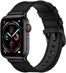 Mifa [Upgraded] Compatible w/ Apple Watch Band 44mm 42mm Series 6 SE 5 4 3 Rugged Hybrid Sports Leather Vintage Dressy Bands Dark Replacement Straps Sweatproof iwatch Nike Space Black