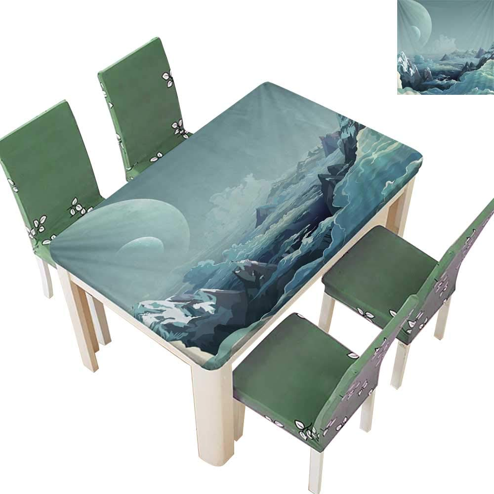 Printsonne Polyester Fabric Tablecloth Mountain and Mo Mandala Bohemian Wall Summer & Outdoor Picnics 54 x 102 Inch (Elastic Edge)