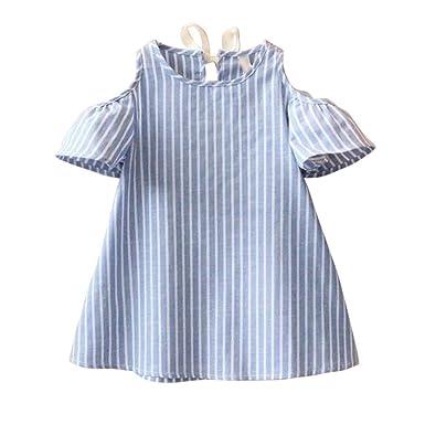 8064145d3b1e7 Oyedens Mode Vetement Bebe Fille Ete Robe de princesse Fille Printemps  Casual Robe à Rayures Manches Courtes Chic Mini Robe de soirée Vetement  Fille Enfant ...