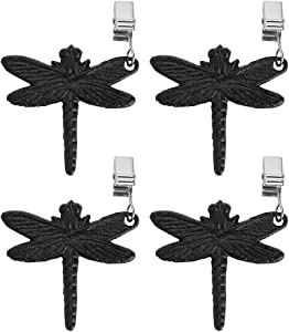 OwnMy Set of 4 Tablecloth Weights Clip on, Pendant Tablecloth Weights Kit with Cast Iron Antique Dragonfly, Cloth Weights Clip for Outdoor Garden Party Picnic Tablecloths Clips Heavy Duty (Black)