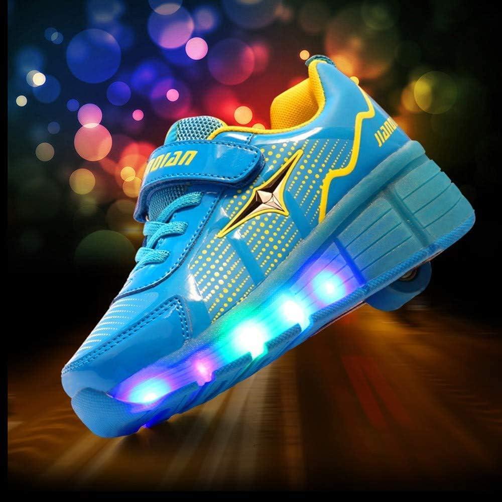 ADDG LED Lumière Rouleaux Chaussures de Skate pour Les Chaussures d'enfants d'enfants Enfants Glowing Chaussures de Sport à roulettes Blue