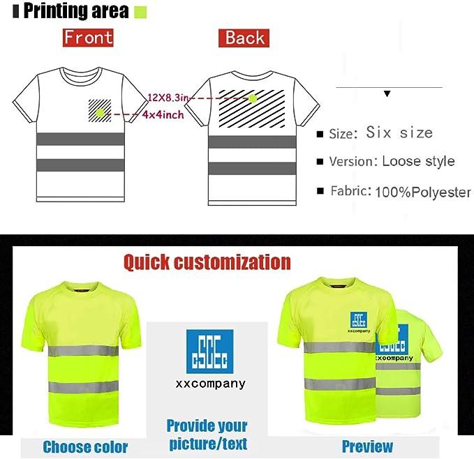 Camisetas de seguridad reflectantes de alta visibilidad, personalizables con logo de alta visibilidad, ropa de trabajo al aire libre, camisa de manga ...