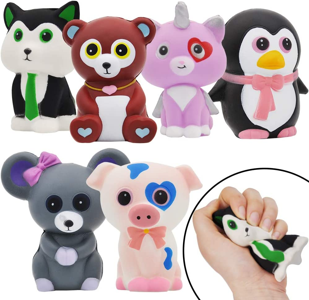 JOYIN 6 Pack Jumbo Size Squishy Animal Toy Slow Rising Stress Relief Super Soft Squeeze Kawaii Animal Friends Toys
